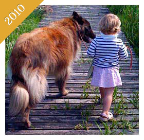 Child walking dog on boardwalk from 2010